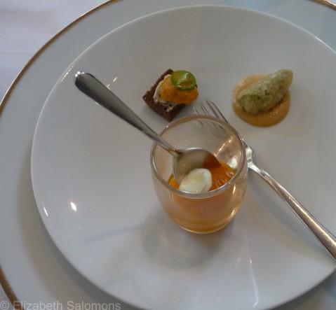 Carrot purée, sea urchin, and fried okra
