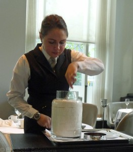 Waitress serving marshmallow