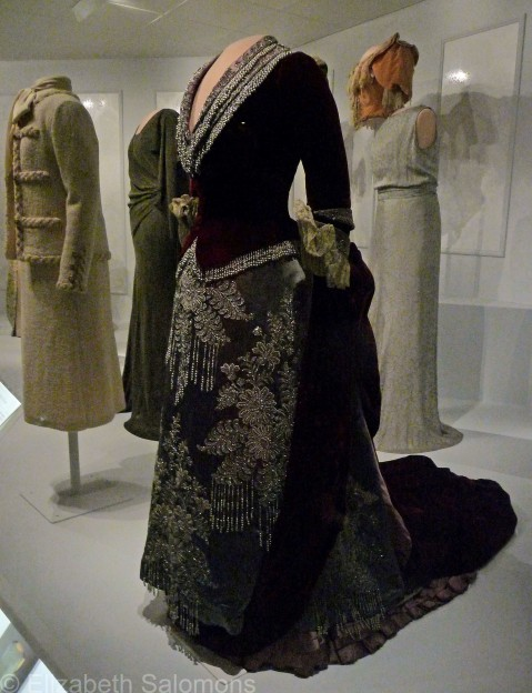 From left to right: suit worn by Nancy Reagan at the 1980 Republican National Convention, evening gown worn by Lou Hoover, evening gown worn by Caroline Harrison, and Eleanor Roosevelt's 1933 inaugural ball gown