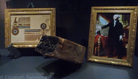 A charred piece of wood from the White House, burned in 1814 by the British, and a painting of George Washington saved by Dolley Madison from the invading British soldiers