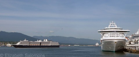 It's rush hour — three cruise ships leave Canada Place within an hour of each other.