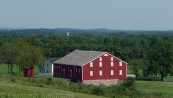 Many of the farm buildings in the fields surrounding Gettysburg in 1863 are still standing.
