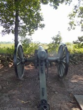 Many of the guns on display at Gettysburg have been placed at or near the same position where guns were in use during the battle. This is a Confederate gun.