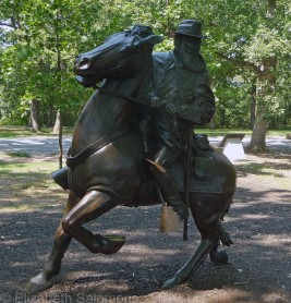 For most of the equestrian statues at Gettysburg, two raised hooves signify that the rider was killed, one raised hoof that the rider was wounded, and if all four hooves are on the ground, the rider was unharmed in the battle. But General James Longstreet of the Confederate Army was neither killed nor wounded, so his statue, erected in 1998, breaks the pattern.