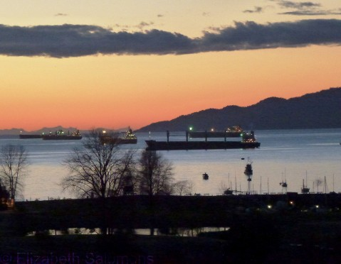 English Bay Freighters Sunset